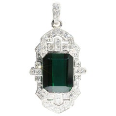 11.84 Carat Green Emerald Cut Tourmaline and 1.40 Carat Diamond Platinum Pendant