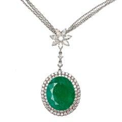 11.84 CT Emerald 2.08 CT Marquise Round Diamond 18 K White Gold Pendant Necklace