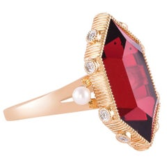 11.85 Carat Red Garnet Ring in 18 Karat Rose Gold with Diamonds and Pearls