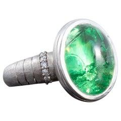 11.86 Carat Cabochon Merelani Mint Garnet Ring