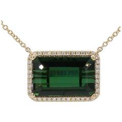 11.86 Carat Green Tourmaline and 0.27 Carat Diamond Pendent 14 Karat Gold