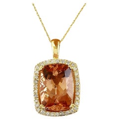 11.88 Carat Natural Morganite 18 Karat Solid Gold Diamond Pendant Necklace