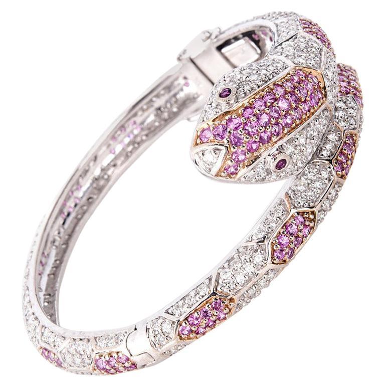 11.88 Carat Sapphire Ruby Diamond Gold Snake Bangle Bracelet For Sale
