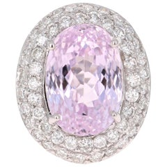 11.89 Carat Kunzite Diamond White Gold Ring