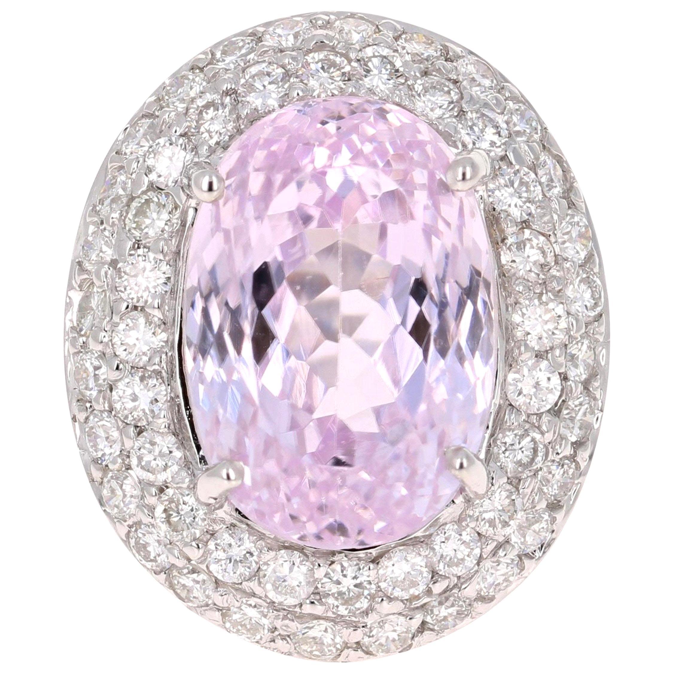 11.89 Carat Kunzite Diamond White Gold Ring
