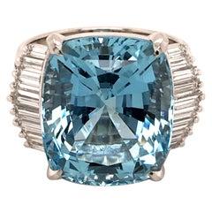 11.89 Carat Aquamarine Ring with Diamonds in Platinum