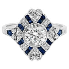 1.19 Carat Diamond Sapphire Diamond 18 Karat White Gold Ring
