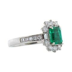 1.19 Carat Emerald Cut Emerald & Diamond Platinum Ring