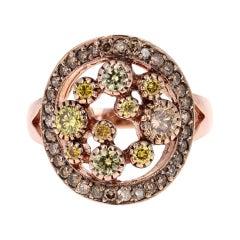 1.19 Carat Fancy Colored Diamond 14 Karat Rose Gold Cocktail Ring