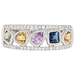 1.19 Carat Multi-Color Sapphire and Diamond Ring, 14 Karat White Gold Milgrain