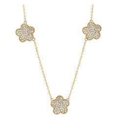 1.19 Carat Natural Diamond Floral Cluster Necklace 14 Karat Yellow Gold G SI