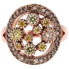 1.19 Carat Natural Fancy Color Diamond 14 Karat Rose Gold Cocktail Ring