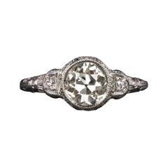 1.19 Carat Old European Cut Diamond Art Deco Ring