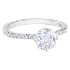 1.19 Carat Old Mine Cut Cushion Diamond Engagement Ring GIA Certified H and VS2