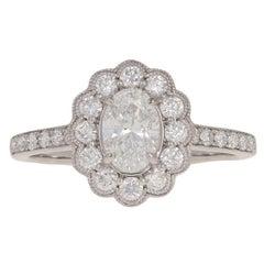 1.19 Carat Oval Cut Diamond Halo Engagement Ring, 18 Karat White Gold Floral GIA