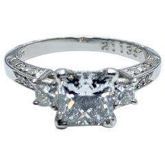 1.19 Carat Princess Cut Diamond and Handcrafted Platinum Engagement Ring