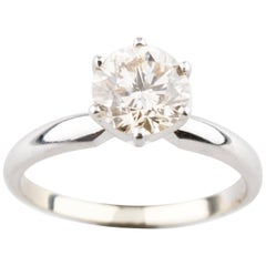 1.19 Carat Round Diamond 14 Karat White Gold Solitaire Engagement Ring