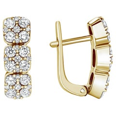 1.19 Carat Round Diamond Earrings in 14k Yellow Gold, Shlomit Rogel