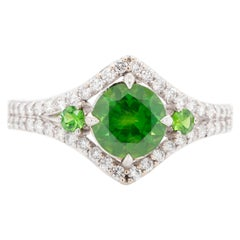 1.19 Carat Russian Demantoid 18 Karat Gold Diamond Engagement Fashion Ring
