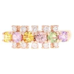 1.19 Carat Sapphire Diamond 14 Karat Rose Gold Ring