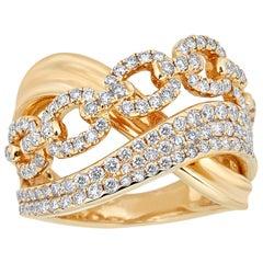 1.19 Carat Total Weight Round Diamond 14 Karat Yellow Gold Cocktail Ring