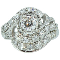 1.19 Carat Vintage Diamond Cluster Ring, Platinum