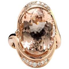 11.90 Carat Exquisite Natural Morganite and Diamond 14 Karat Solid Gold Ring