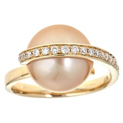 11.90 Carat South Sea Pearl and Diamond 18 Karat Yellow Gold Ring
