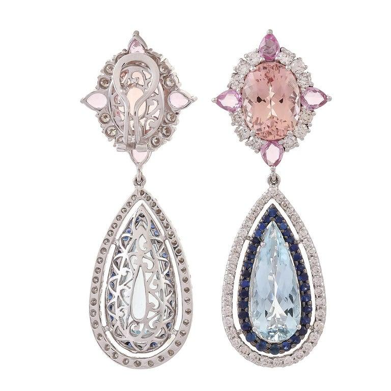 Contemporary 11.91 Carat Aquamarine Morganite Sapphire Diamond Earring For Sale