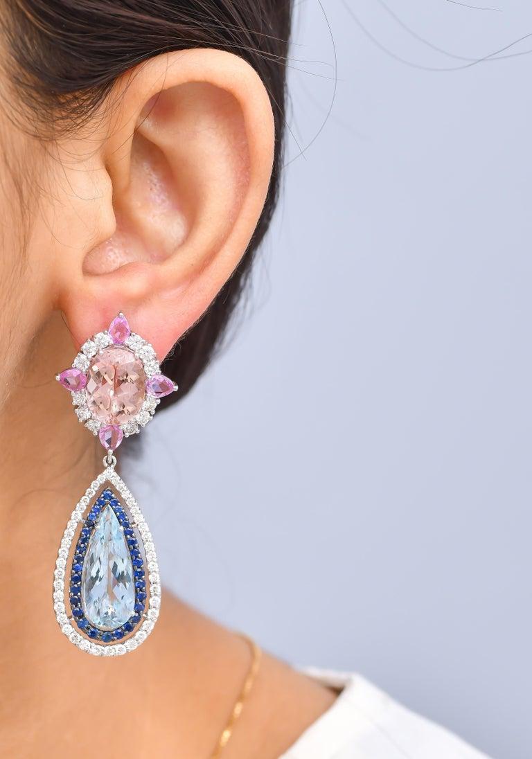 Pear Cut 11.91 Carat Aquamarine Morganite Sapphire Diamond Earring For Sale