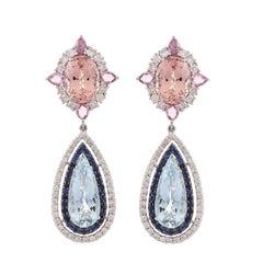 11.91 Carat Aquamarine Morganite Sapphire Diamond Earring