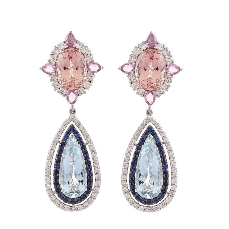 11.91 Carat Aquamarine Morganite Sapphire Diamond Earring For Sale