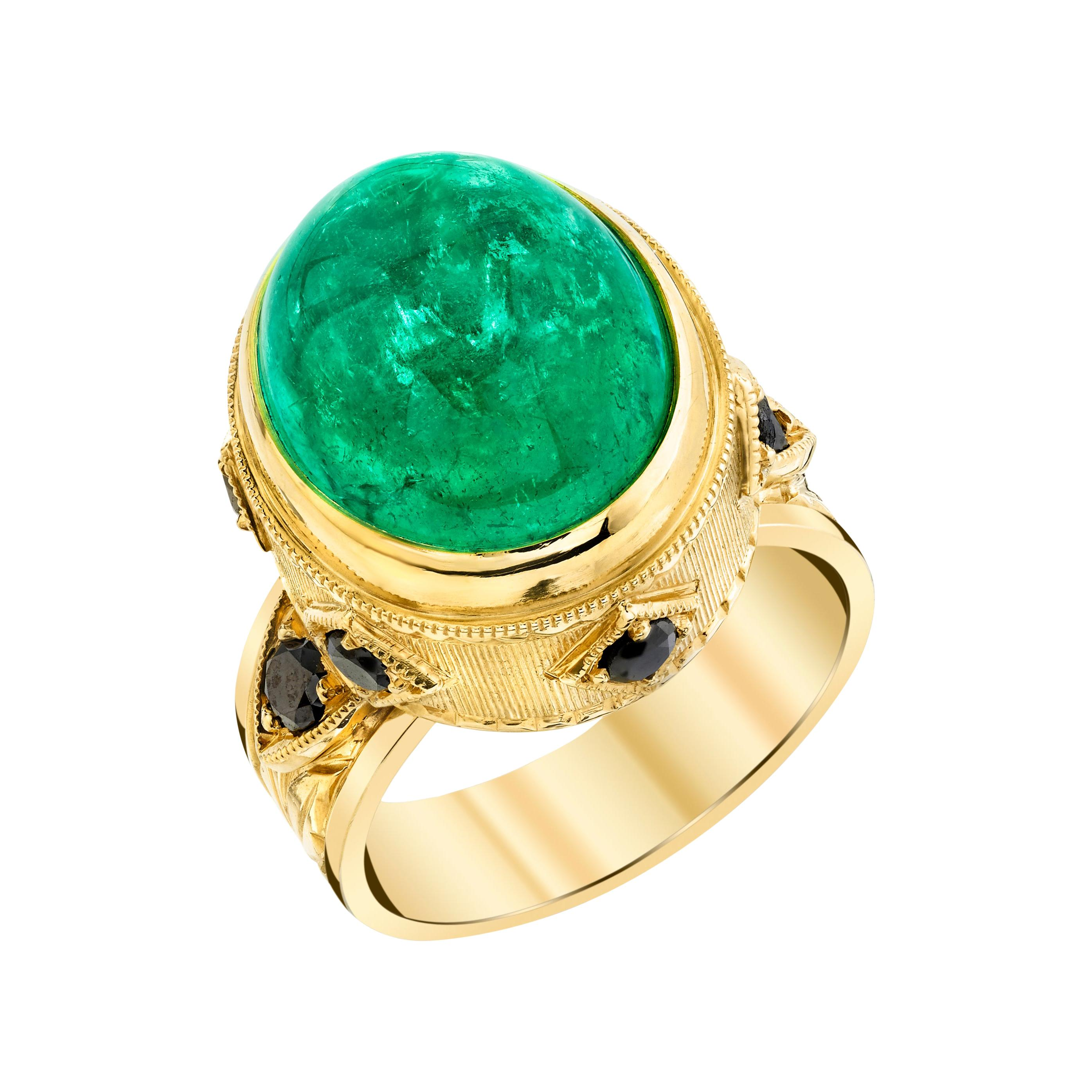 11.91 Carat Emerald Cabochon, Black Diamond Yellow Gold Dome Engraved Bezel Ring