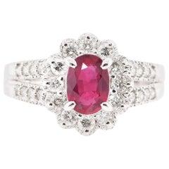 1.191 Carat No Heat Ruby and Diamond Ring Set in Platinum