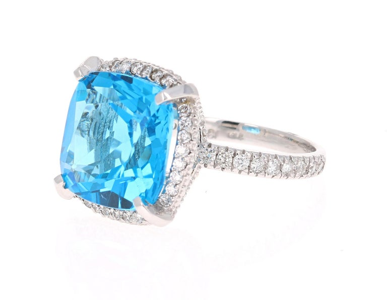 Modern 11.92 Carat Blue Topaz Diamond 14 Karat White Gold Ring For Sale