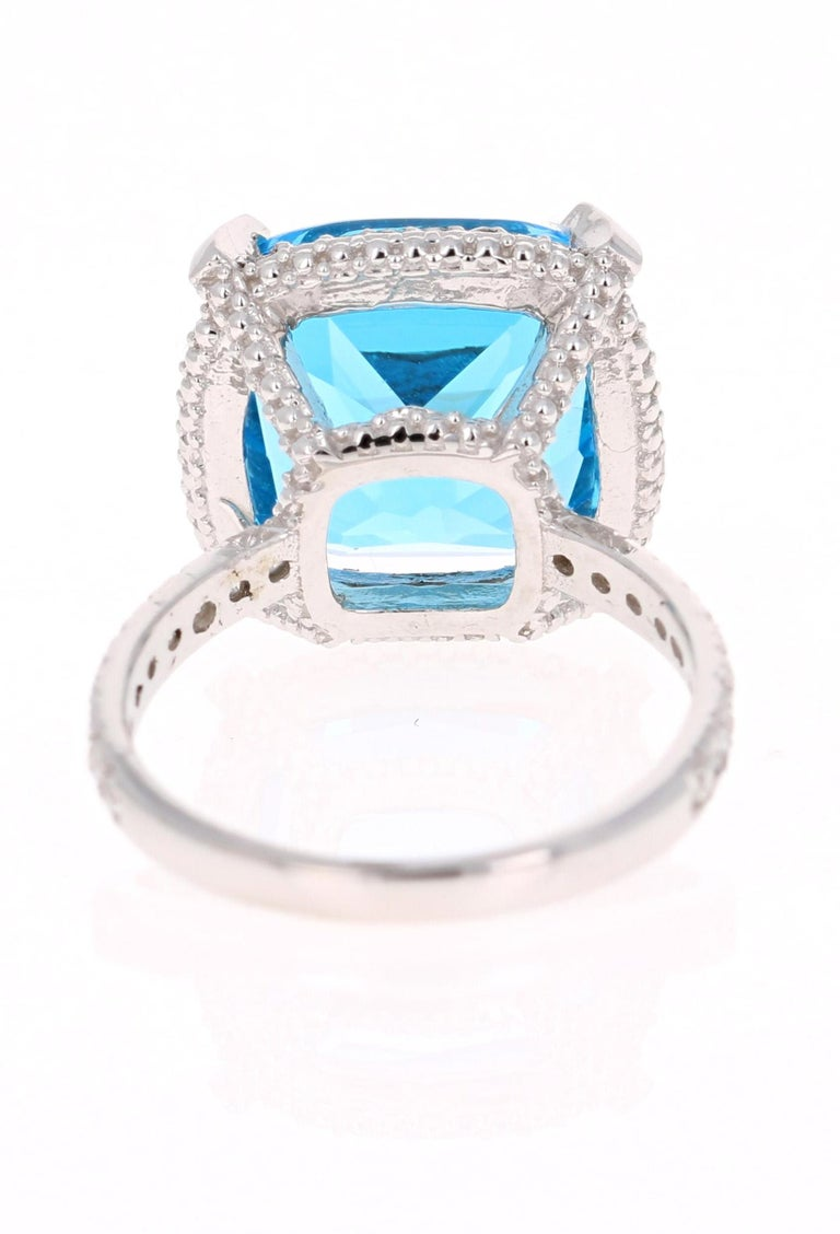 Cushion Cut 11.92 Carat Blue Topaz Diamond 14 Karat White Gold Ring For Sale