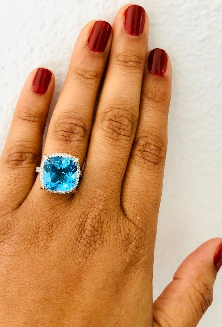 11.92 Carat Blue Topaz Diamond 14 Karat White Gold Ring In New Condition For Sale In San Dimas, CA