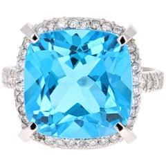 11.92 Carat Blue Topaz Diamond 14 Karat White Gold Ring