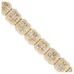 11.92 Carat Invisible Set Diamond Pave Chain Bracelet 14 Karat in Stock