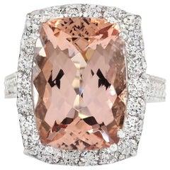 11.92 Carat Natural Morganite 18 Karat White Gold Diamond Ring