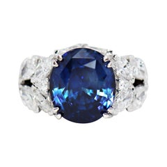 11.92 Carat Natural Unheated Blue Sapphire and Diamond 18ct Gold Cocktail Ring