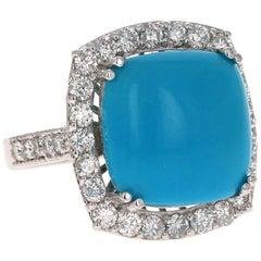 11.92 Carat Turquoise Diamond 14 Karat White Gold Cocktail Ring