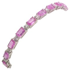 11.93 Carat Pink Sapphire and Diamond 14 Karat White Gold Tennis Bracelet