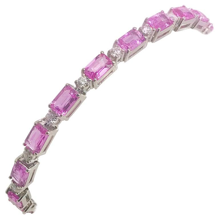 11.93 Carat Pink Sapphire and Diamond 14 Karat White Gold Tennis Bracelet For Sale