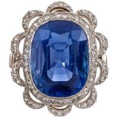 11.94 Carat Belle Époque Kashmir Sapphire and Diamond Cluster Ring SSEF