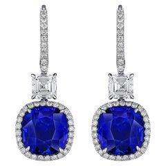 11.94 Carat Blue Cushion Sapphire and Asscher Cut Diamond Platinum Earrings