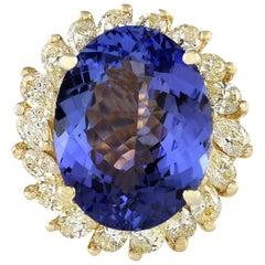 11.97 Carat Tanzanite 18 Karat Yellow Gold Diamond Ring
