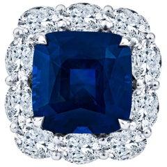 11.98 Carat Cushion Cut Sapphire with 3.42 Carat Diamond Halo Platinum Ring