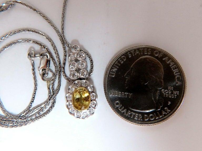 Oval Cut 1.19 Carat Natural Yellow Sapphire Diamonds Dangle Pendant 14 Karat For Sale