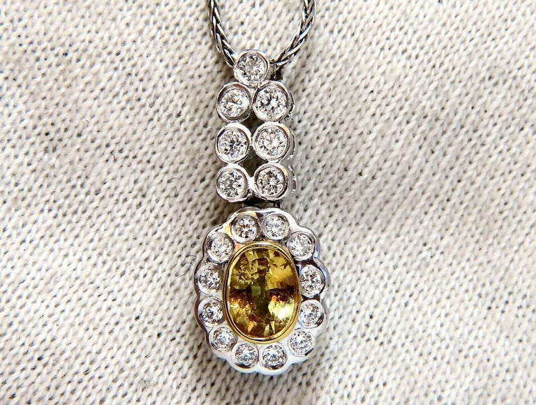 1.19 Carat Natural Yellow Sapphire Diamonds Dangle Pendant 14 Karat In New Condition For Sale In New York, NY